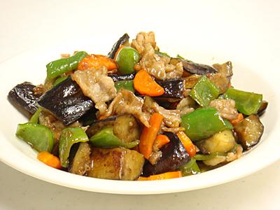 豚肉と茄子の黒酢炒め
